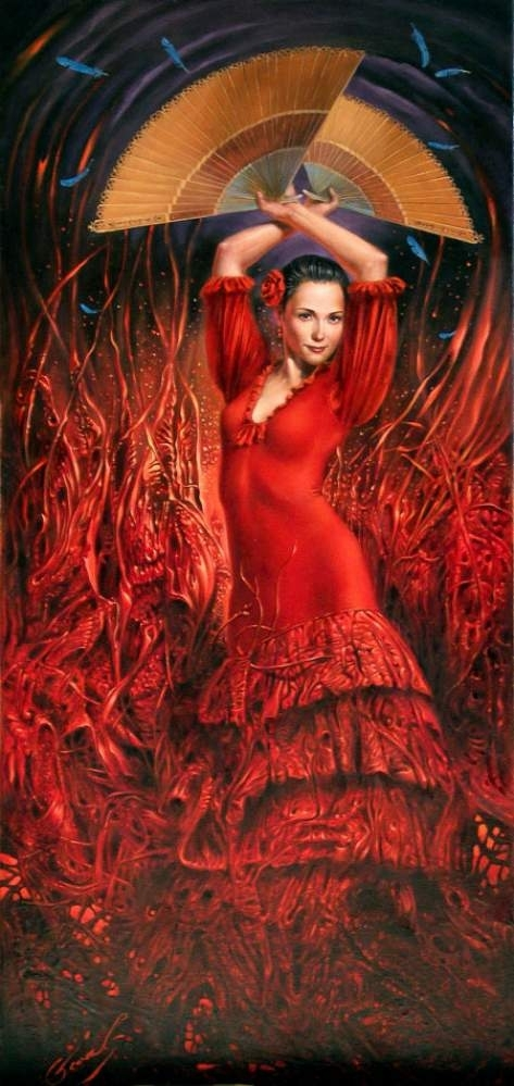 """Flamenco Flame, 30""""x14"""", oil on canvas 