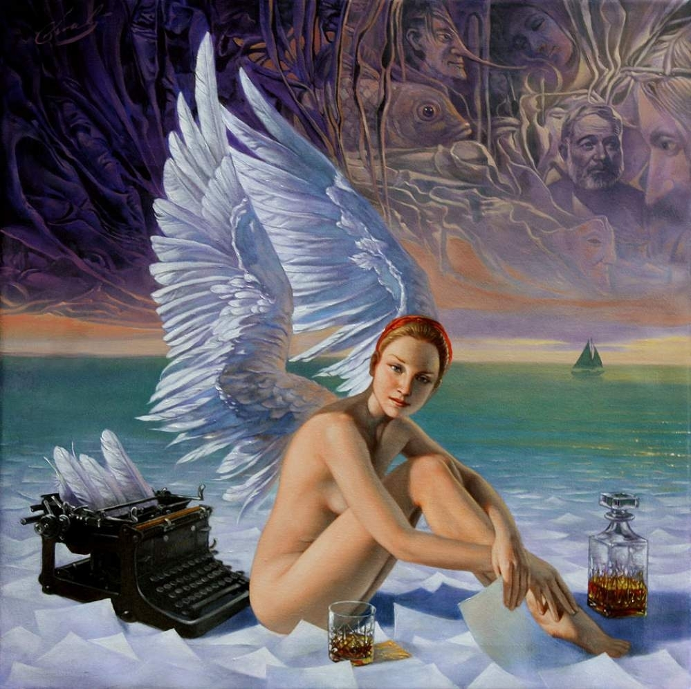 "Angel of Key West, 20""x20"", oil on canvas 