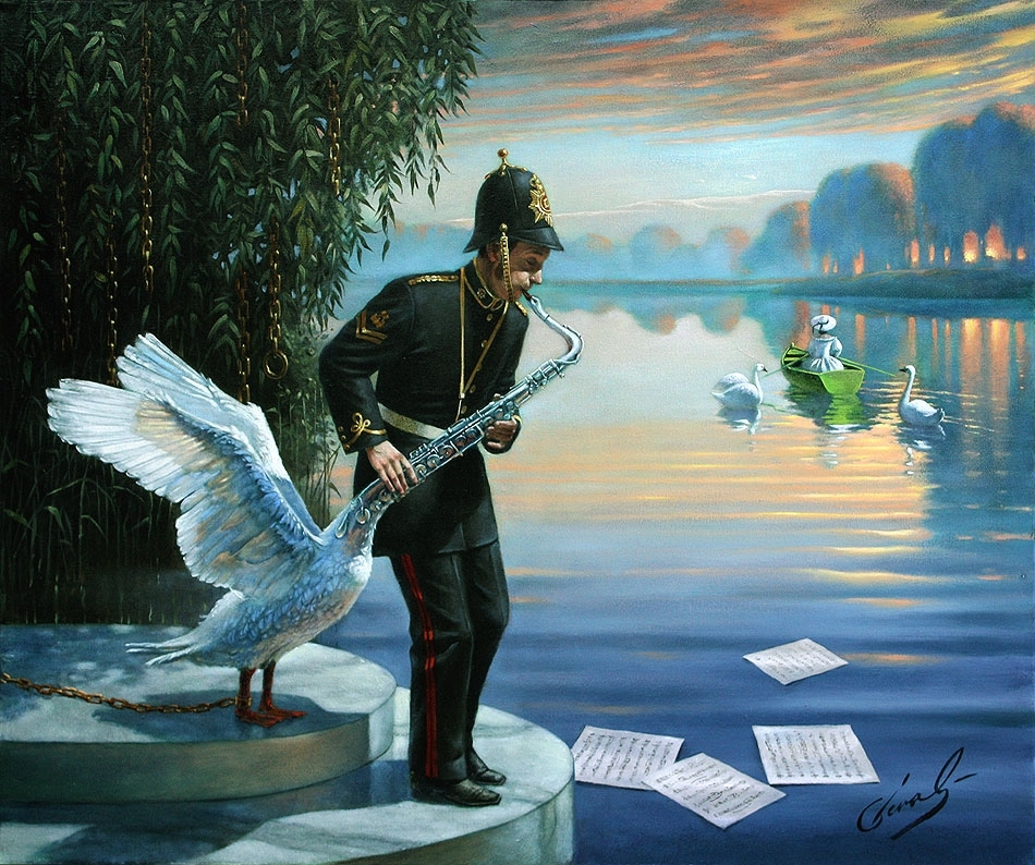 """Swansophone Elegy, 20""""x24"""", oil on canvas 