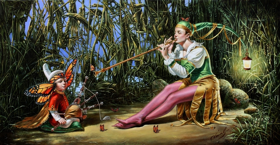 """Lullaby for Butterfly King, 18""""x34"""", oil on canvas 