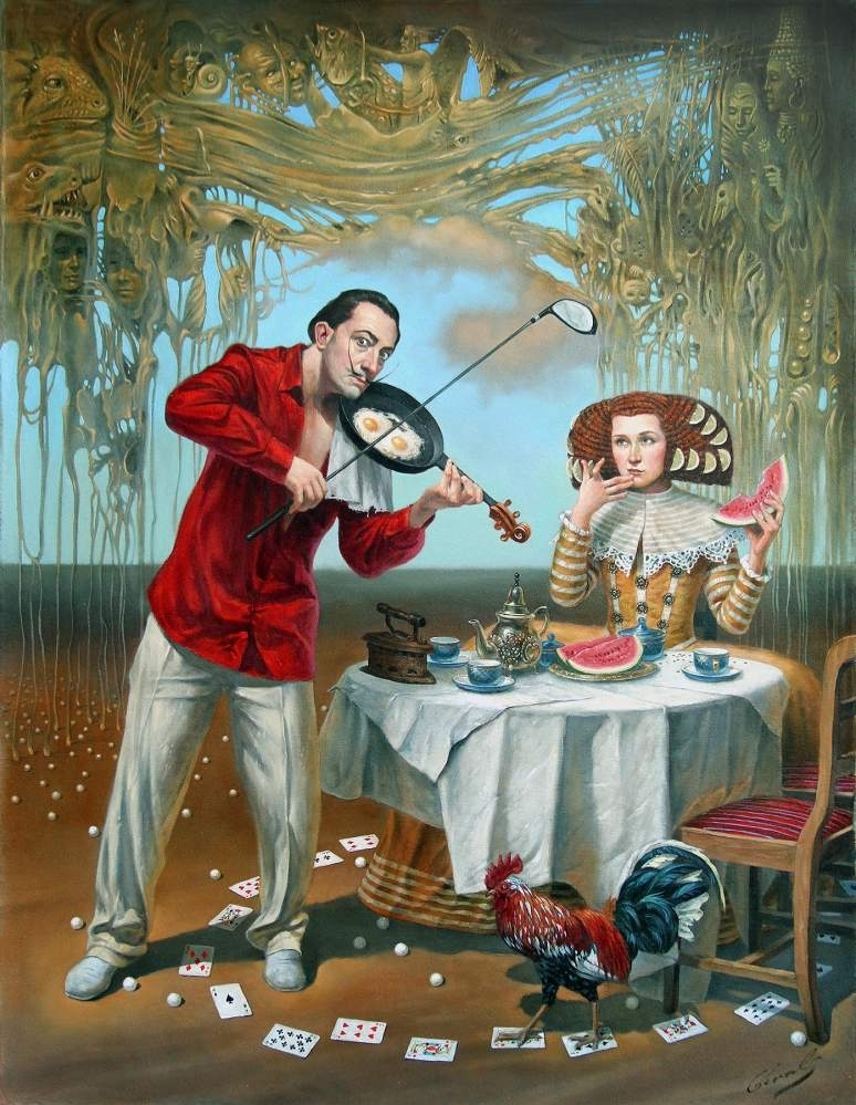 "Breakfast with Humpty-Dumpty, 30"" x 24"", oil on canvas, 2015 