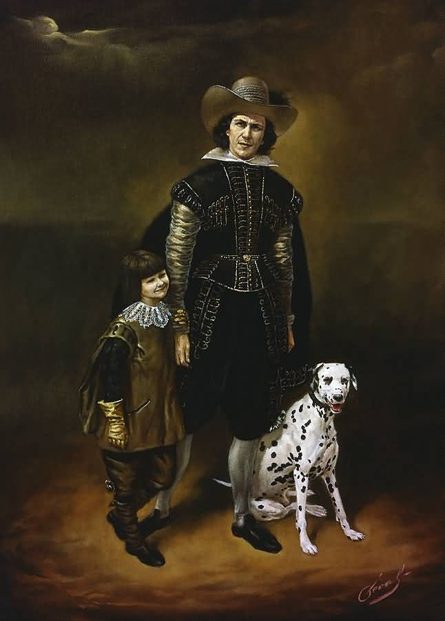 Self-portrait with Daughter and Dalmatian