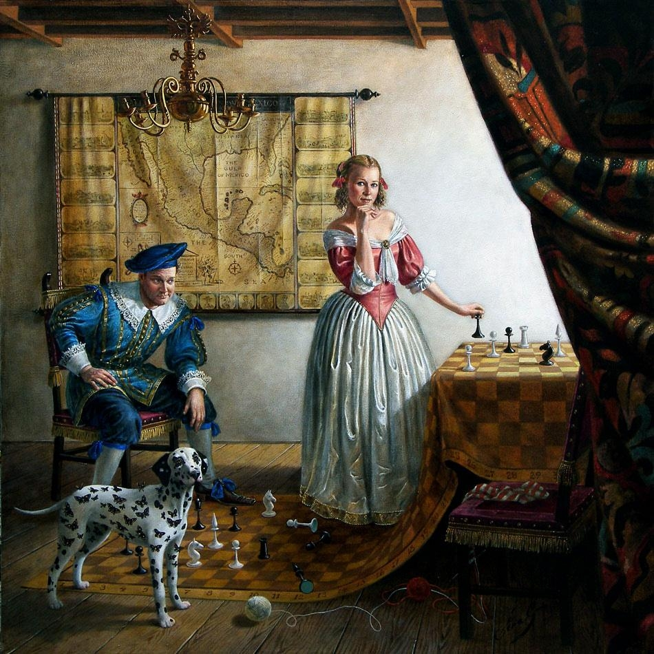 Portrait of Mr. and Mrs. Paul Cass in Vermeer's Interior